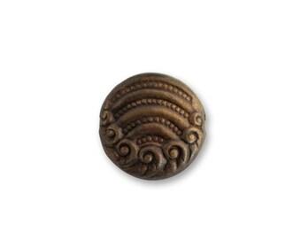 6 Artful Button Decorivets - Vintaj Natural Brass OS