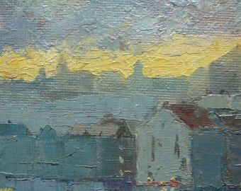 Oil painting sunset on a city view of the industrial part of a city canvas on wooden panel french painting 1950'theme industry world worker