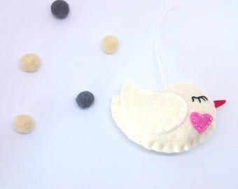 Little bird ornament -heart - handmande felt ornaments - Christmas/Housewarming home decor - Baby shower - eco friendly - Christmas ornament