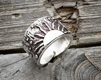 Sterling Silver Ring Sun Moon Stars Ring Handmade By Joy Kruse Wild Prairie Silver Jewelry