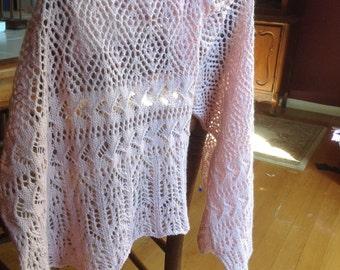 Pink lace shawl, pink lace wrap, pink lace scarf, pink lace stole