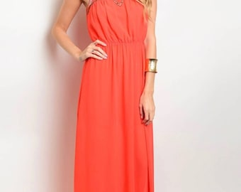 Beaded Coral Dress