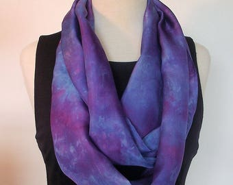 "Hand Dyed Silk Infinity Scarf - 11 x 76"", Tuquoise, Royal Blue, Fuschia, Long Loop Scarf"