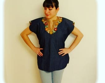 Mexican Huipil. Beautiful blue denim color huipil/blouse handmade and embroidered in Chiapas, México. S/M size.