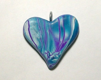 Turquoise & Purple 44mm x 40mm Heart Pendant with Wire Bail by Carol Wilson of PollyClayDesigns