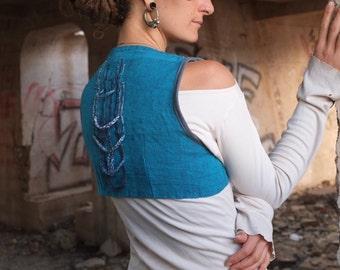 SUPER SALE - Turquoise Bolero - Handwoven Organic Cotton-Linen Cropped Vest - Braided Inlay Detail