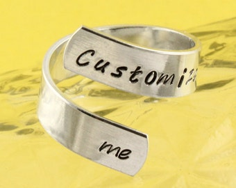 Customize Me Wrap Ring - Twist Ring - Silver Ring - Personalized Ring - Adjustable Ring - Hand Stamped Ring - Size 5 Ring - Size 6 Ring