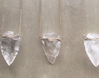 Small Crystal Arrowhead Necklace