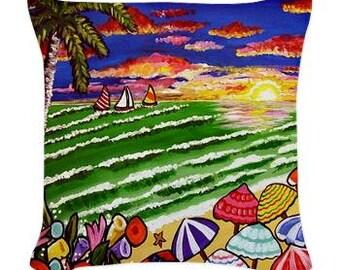 Tropical Beach Sunset Folk Art Pillow - Woven Throw Pillow Whimsical Art by Renie Britenbucher