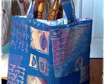 Shopping Bag, Market Bag, Grocery Bag, Blue Script Linen Tapestry Bag, Patchwork Print Cotton Lining, Bag for life