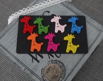 10 x Giraffe Buttons - Novelty Bright Coloured Wooden Giraffe Buttons with Circle Design