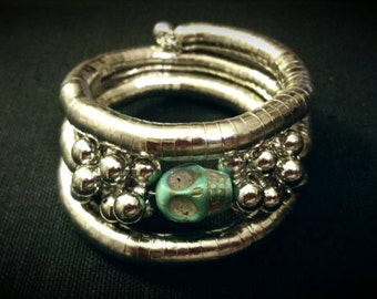 After Life Accessories Repurposed Stretch Silver Bangle Turquoise Skull Bracelet