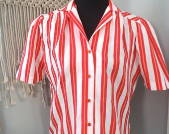 Vintage Red and White CANDY striped Button Up Shirt with Puffy Sleeves ~ size 12 Blouse