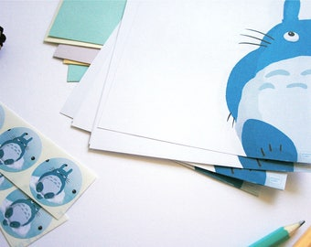 Big Totoro fanart writing paper set - Illustrated writing paper set with envelopes and assorted stickers