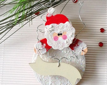 Personalize Christmas Ornament. Rustic Country Santa. Holiday Rustic Decor. Baby's 1st Christmas. Personalized Gift.