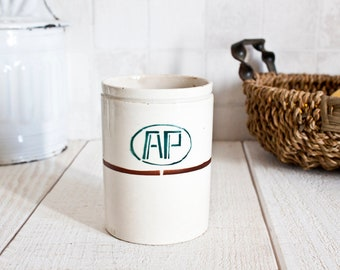 Antique French DIGOIN Ironstone Pharmacy Jar || Apothecary Storage - Vintage Farmhouse Home Decor - Advertising Stoneware