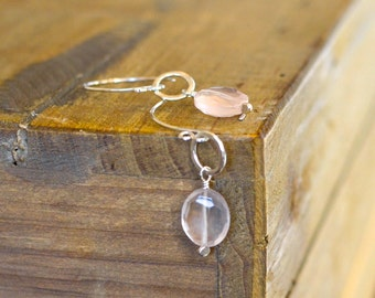 Sterling Silver and Natural Rose Quartz Earrings