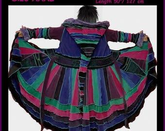 elf coat, fairy coat, rainbow coat, velvet coat, patchwork coat, gypsy coat, hippie coat, boho coat, size XXXL, plus size