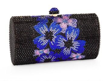Midnight Bloom Series Clutch Purse Luxury Handbag Encrusted With Swarovski Crystals