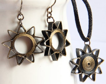 Baha'i Jewelry Nine Pointed Star Earrings and Pendant Necklace Set Black and Gold Handmade Eco Friendly