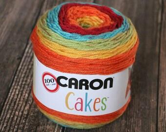 Caron Cakes Yarn - Rainbow Sprinkles - Wool Blend Yarn - Self-striping yarn - Michael's exclusive yarn - Skein of Caron Cake Yarn