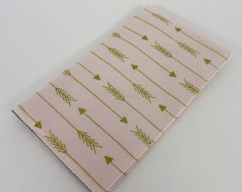 Checkbook Cover Case Cheque Book Receipts  - Metallic Gold Arrows on Light Pink Fabric