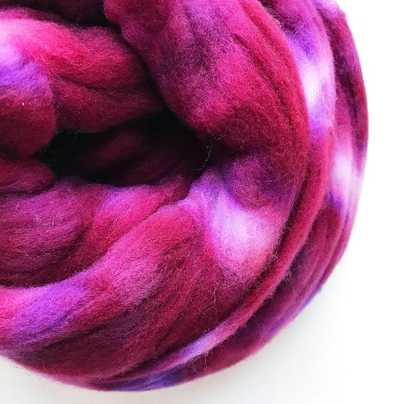 BOYSENBERRY hand dyed roving merino wool 4 oz.