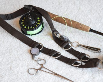 "Fly Fishing Lanyard ,Dark Brown, 1"" Polyester Webbing Strap ,with 8 Split Rings for accesories, and 1 Tippet Spool Holder."