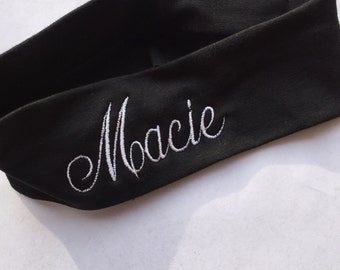 Embroidered Headband, Monogrammed Name, Custom Boutique, Monogram Gift Idea, Girls Tennis, Softball Soccer, Girls Hair Bow, Head wrap Trendy