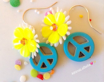 Peace Earrings, Peace Sign Jewelry, Flower Earrings, Flower Power, Daisy Earrings, Boho Jewelry, Music Festival Jewelry Hippy Jewelry