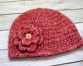 Pink Hat with Flower // Size 6-10 Years