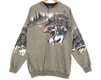 Forest Glen Sweatshirt Fox Bac Front Print Large Size Made In Usa Jumper Pullover Jacket Shirt Hoodie Sweat Sweater Vintage