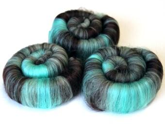 Punis Rolags Merino Wool & Silk hand carded Mint Chocolate 100g
