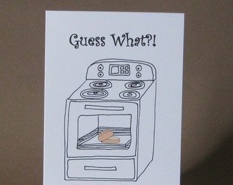Pregnancy Card, Funny Pregnancy Announcement – Bun in the Oven, Pregnancy Reveal, We're Pregnant, Having a Baby, We're Expecting