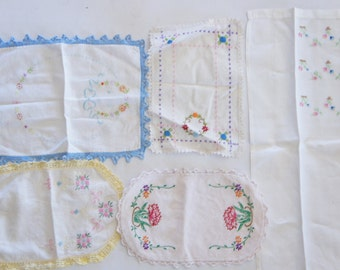 Vintage 40s-50s Embroidered Doilies /Shabby Chic/ Bohemian Chic /Mid Century
