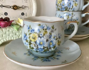 Vintage Pale Blue, Floral Teacups and Saucers, 3 Available