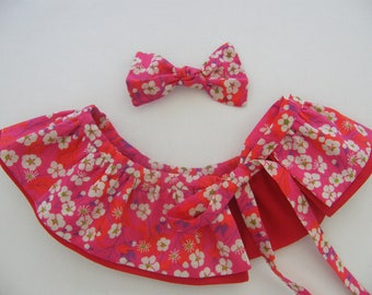 Detachable pierrot double collar Strip and LIBERTY Mitsi red 3/6/9/12/18 months 2/3/4/6/8 years