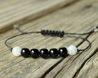Black Tourmaline Bracelet, Moonstone Bracelet, Protection Bracelet, Grounding Bracelet, Base Chakra, Yoga Bracelet