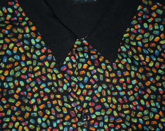 Vintage 80s Candy Colored and Black Rayon Shirt L