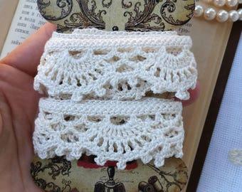 Crochet lace cream trim (100cm)