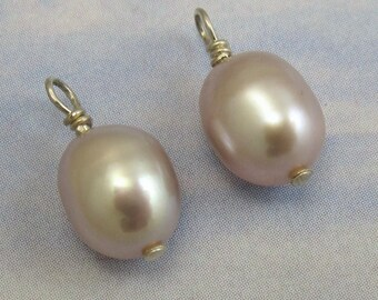 Pink Pearl Drop Beads 2 pcs Sterling Silver Pink Fresh Water Pearl Stones B-40