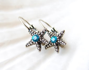Starfish Earrings. Antiques Silver Plated Starfish with Blue Zircon Crystal. Simple Modern Jewelry by Smallbluethings ~ Valentine's Day