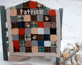 Wool Dog Quilt Pet Bed Eco Friendly Upcycled Wool Personalized Paw Prints Patchwork Dog or Cat by Northernlodge