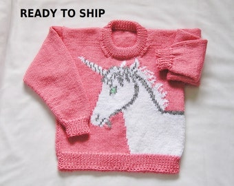 Girls Pink Pullover Sweater, Strawberry Pink Handknitted Unicorn,  Size 7 Ready to Ship Jumper Jersey Pulli