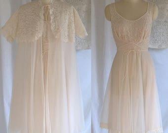 Vintage 1950's Peignoir Set   Pink Chiffon with Lace   Babydoll Lingerie Set   Bridal Lingerie   Vanity Fair   Size S