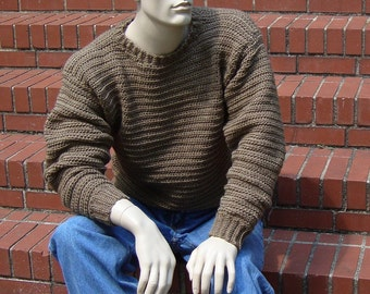 Husband Gift, Wool Sweater Men, Sweater Man, Men's Wool Sweater, Men's Sweater, Men's Wool Sweaters, Tan Sweater, Available in M and L