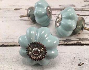 Ceramic Knobs, Decorative Drawer Knob, Instant Furniture Upgrade, Ceramic Drawer Pulls, Cabinet Supplies, Mint, Item# 275727572