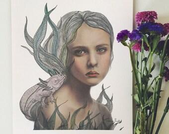 Fille avec impression, illustration d'axolotl axolotl, axolotl print, illustration de l'axolotl, axolotl, aquarelle art print, surréaliste, jeune fille avec un dragon