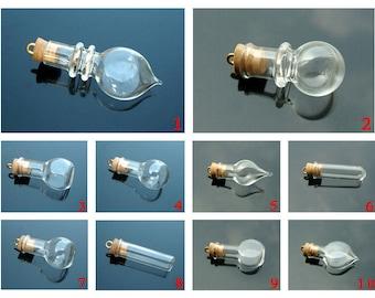 8MM Glass Bottle Vials / cork (mini/ vial/ pendants/ glass/ globes/ bottles)