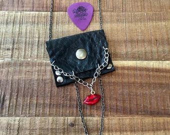 Leather Gift For Her-Women's Accessories-Pouch Necklace-Black Leather with chains- Hipster Rocker Bohemian -Red hot lips